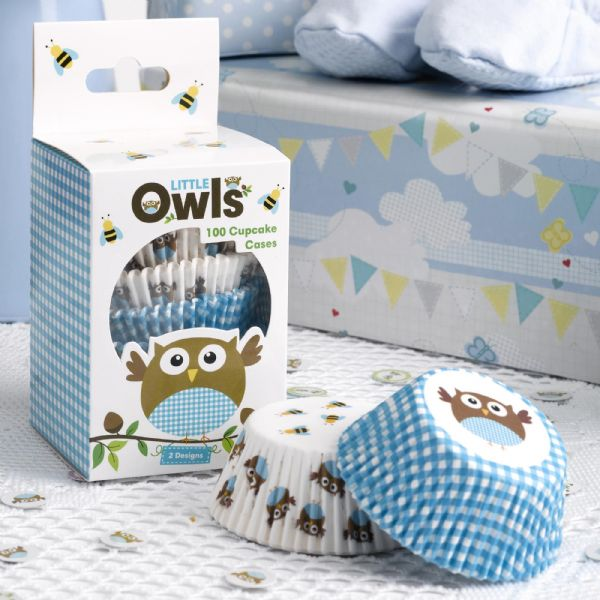 Little Owls Blue Cupcake Cases (100)